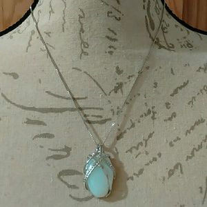 Jewelry - White Oval Opal Pendant 925 Silver